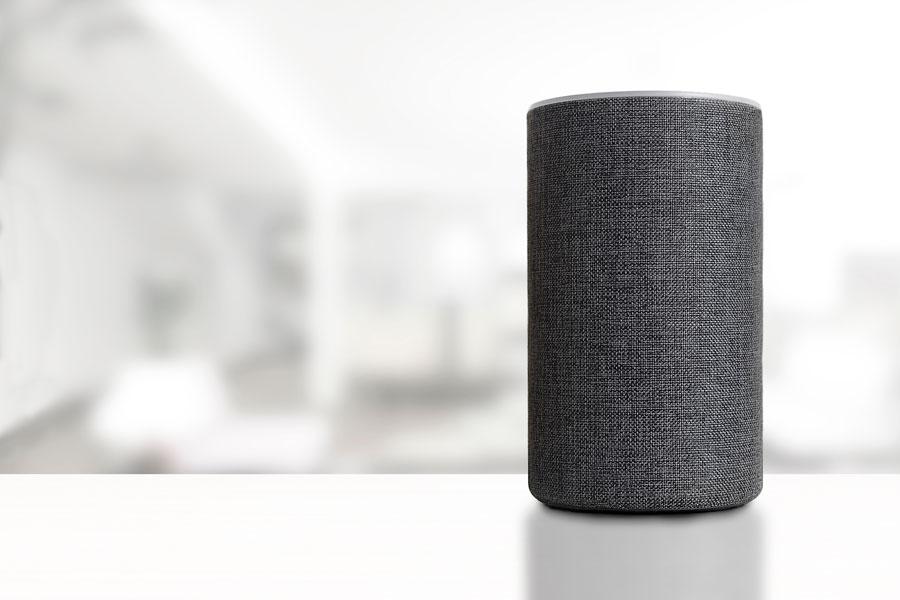 Alexa device on a shelf